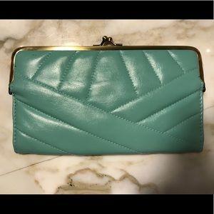 Handbags - Sea foam Green Wallet clutch Gold clasp